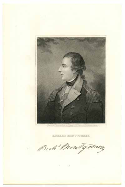 MONTGOMERY, RICHARD  (1738-75)  American Revolutionary War, Continental Army Major General; Killed-in-Action during the Battle of Quebec City - December 31, 1775