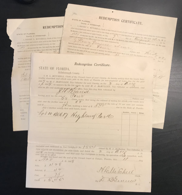 HILLSBOROUGH COUNTY, FLORIDA – LAND CONVEYANCE INVOLVING TWO 19th CENTURY PIONEERS OF TAMPA